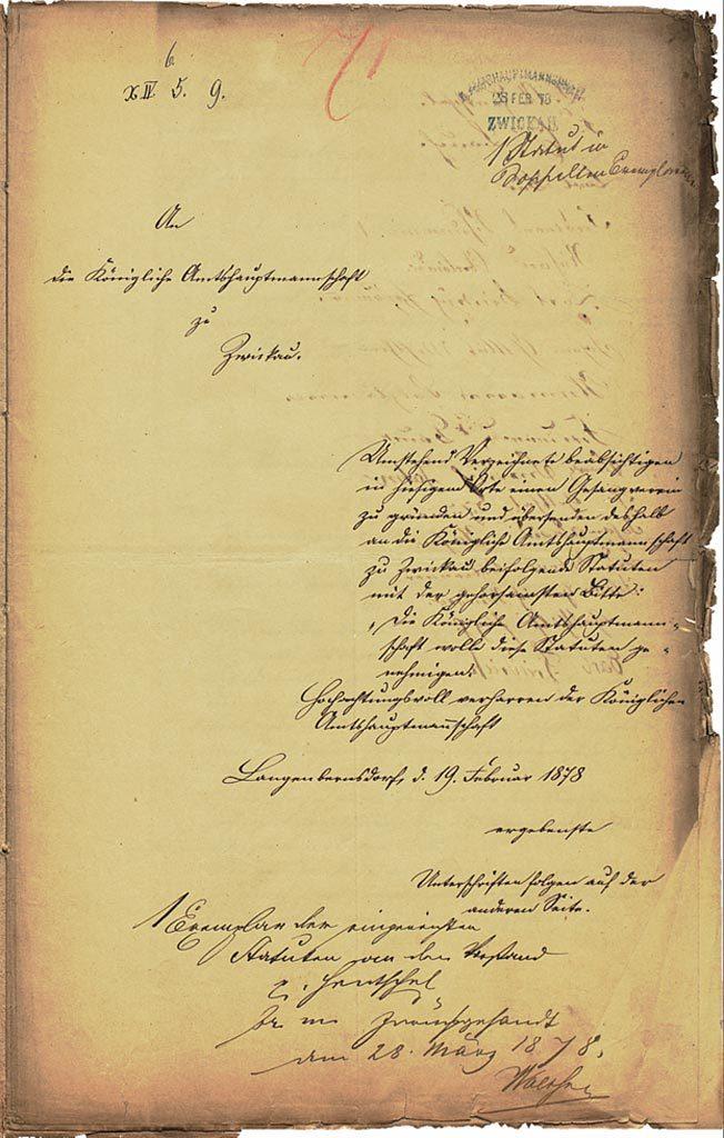 Brief an die Königliche Amtshauptmannschaft zu Zwickau 1878