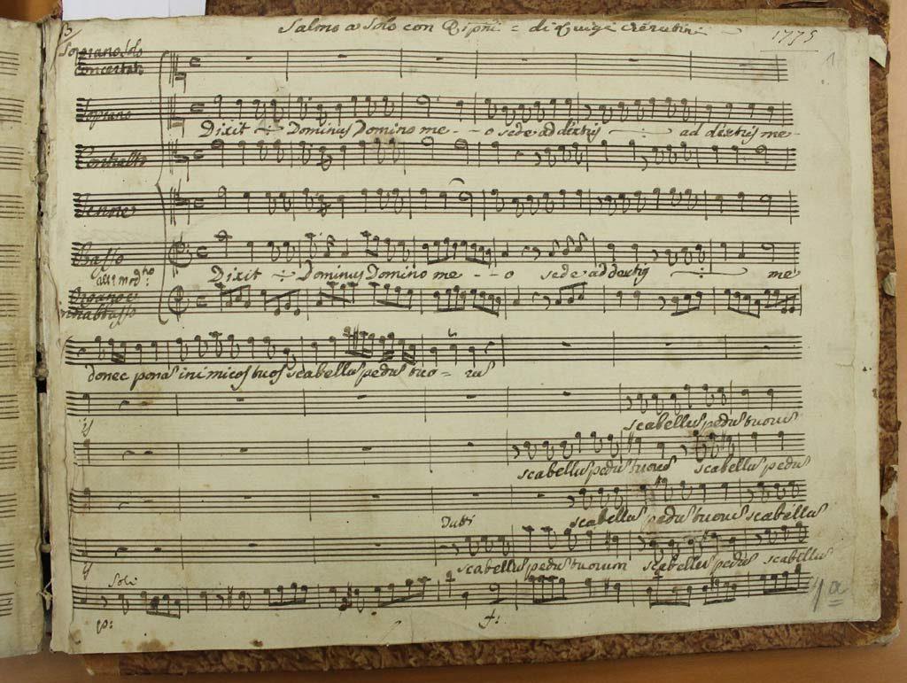 Erste Seite der autographen Partitur von Luigi Cherubinis Dixit Dominus. Das Werk wurde 1775 in Florenz komponiert und uraufgeführt. Das Manuskript liegt heute in Krakau. Ich dirigierte im Jahr 2014 die zeitgenössische Erstaufführung, nachdem ich die Noten ediert hatte.
